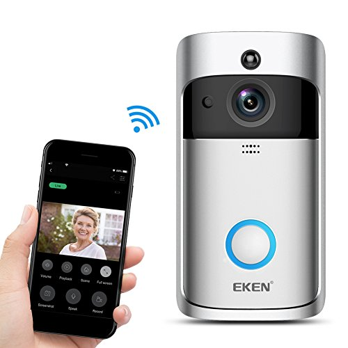 EKEN Video Doorbell 2 720P HD Wifi Camera Real-Time Video Two-Way Audio Wide-angle Lens Night Vision PIR Motion Detection App Control for IOS and Android with FREE Built-in 8GB Card and Two Batteries