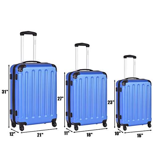 Goplus 3Pcs Luggage Set, Hardside Travel Rolling Suitcase, 20/24/28 Rolling Luggage Upright, Hardshell Spinner Luggage Set with Telescoping Handle, Coded Lock Travel Trolley Case (Blue)