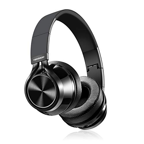 Bluetooth Headphones Over Ear,YSMKUOK Wireless Hi-Fi Stereo Headset with Noise Cancelling Microphone, Supports Hands-Free Calling Wireless and Wired Foldable Headphones for PC/Cell Phones/TV – Black