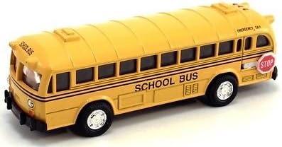 Pullback Motorized by Flat Nose Metro 5-inch Metal Die Cast School Bus