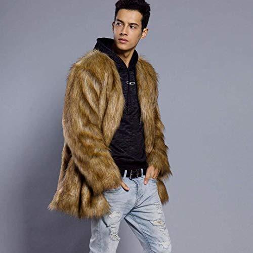 Giù Caldo Epoca Maschile Maniche Abbigliamento Giacca Casuale Confortevole In Di Huixin Finta Pelliccia Lunghe Cappotto Schwarz Inverno vP4Hdqq