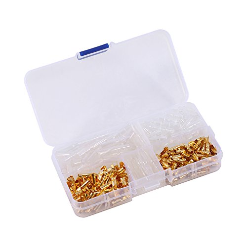 Bullet Connectors,120pcs Brass 3.5mm Bullet Male and Female Terminals Gold Plated Bullet Connectors Plug with Insulation Cover ()