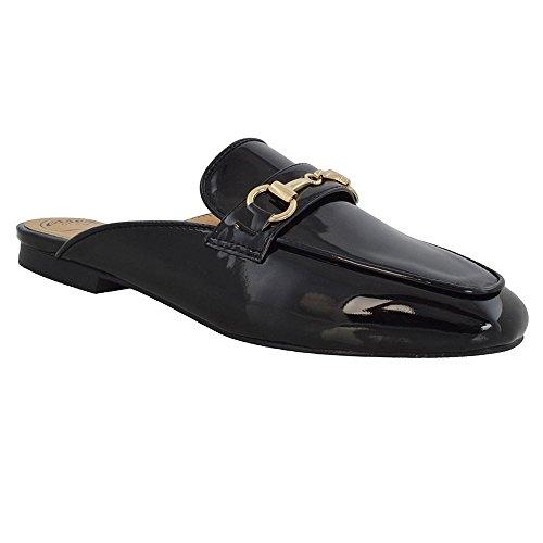 Esperan Glam Femmes Glissement Sur Mule Plat Backless Buckle Loafer Chaussures Noir Brevet