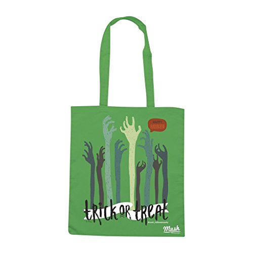Borsa Trick Or Treat Happy Halloween Party - Zombie Hand - Verde prato - Funny by Mush Dress Your Style