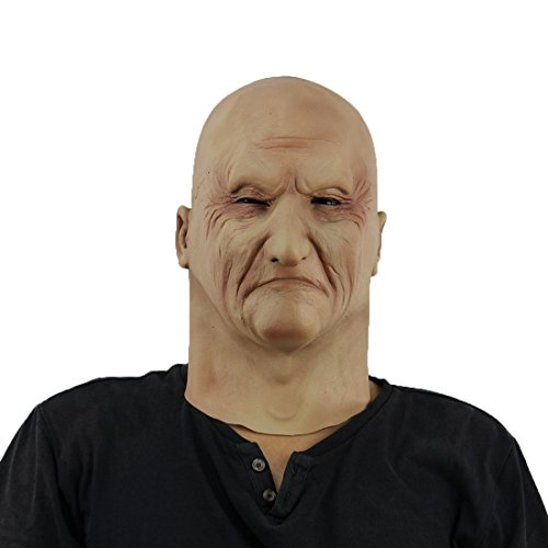 [Hophen Halloween Creepy Old Man Mask Celebrity Latex Ideal for Parties Cosplay Costume Parties] (Latex Mask Old Man)
