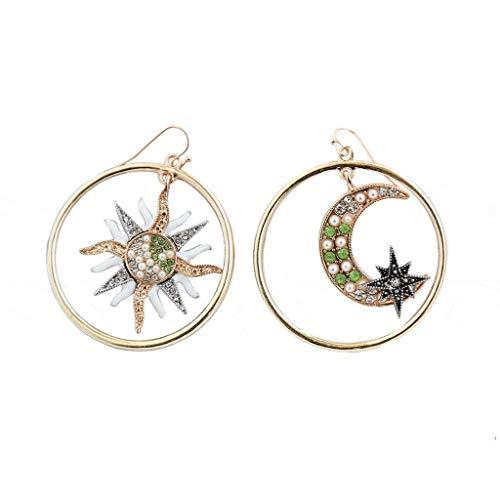 Temperament Princess Goddess Earrings Bohemian Hole Circle Suuround Stars Moon Sun Diamond Geometry Earrings Ladies Jewelry Greek Mythology