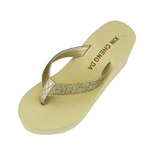 レディースサンダル夏に、anshintoファッションレディースプラットフォームサンダルThongウェッジビーチサンダル靴