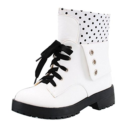 COOLCEPT Damen Casual Herbst Winter Flach Ankle Stiefel Pull On White