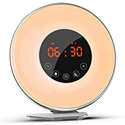 BALALAHTEK Wake up Light, Alarm Clock with Sunrise Simulation, Digital Alarm Clock with FM Radio 7 Colors Sleep and 6 Nature Sounds,Trouch Control and Snooze Function for Kids and Adults Bedrooms