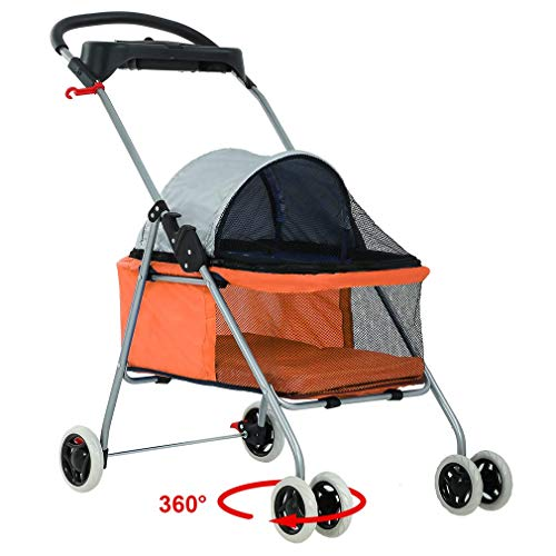 New BestPet Orange Posh Pet Stroller Dogs Cats w/Cup Holder (Renewed)