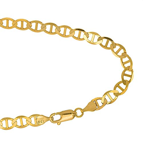 JewelStop 14k Solid Yellow Gold 3.2 Mm Mariner Anklet Lobster Claw Clasp 2.6 Gr - 10""