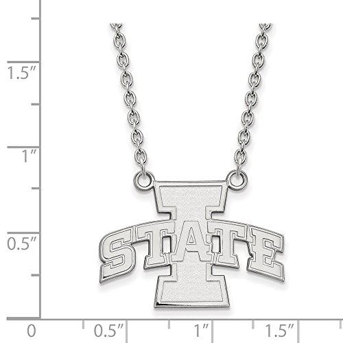 Jewelry Stores Network Iowa State Cyclones School Letters Logo Pendant Necklace in Sterling Silver L - (19 mm x 26 -