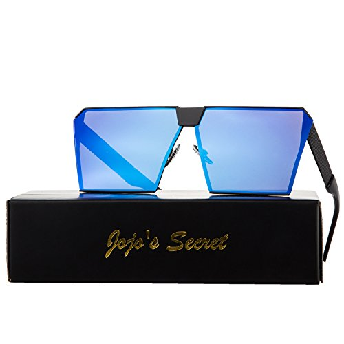 JOJO'S SECRET Oversized Square Sunglasses Metal Frame Flat Top Sunglasses JS009 (Black/Navy Blue, - Navy Glasses Frames
