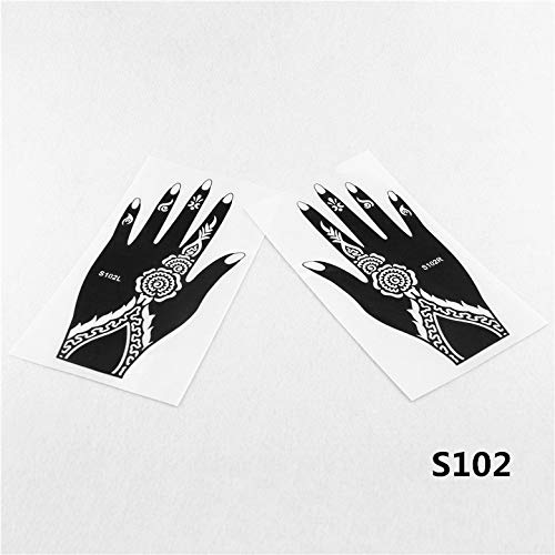 Henna Stencils 12pcs Henna Stencil Mehndi Arabic Indian Style Temporary Hand Tattoo Body Art Sticker - Reusable
