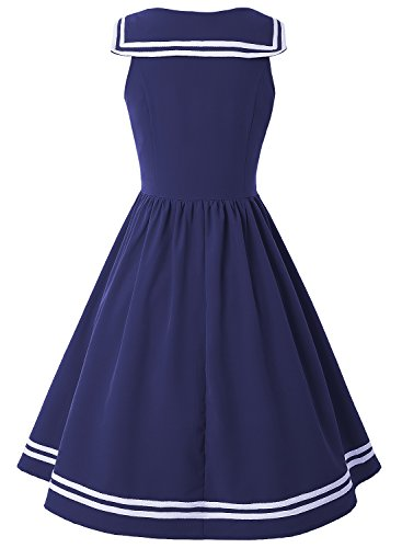 ZAFUL Women Vintage Dress 1950s Nautical Style Summer Sailor Collar Sleeveless Cute Cocktail Party Swing Dresses(Blue,S) by ZAFUL (Image #1)