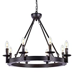 Farmhouse Ceiling Light Fixtures Wellmet Black Farmhouse Chandeliers Wagon Wheel, Industrial 8 Lights Iron Lighting Candle Style 28″, Rustic Hanging Ceiling Light Fixture Dining Room Kitchen Island Bedroom Living Room Foyer Hallway farmhouse ceiling light fixtures