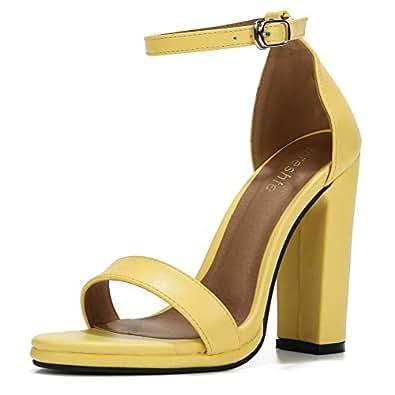 fereshte Women's Ankle Strap Chunky Block High Heel Dress Sandals Yellow Size: 6