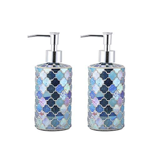 (WH Housewares Set of 2 Soap Dispenser-Lotion Bottle-12OZ-Mosaic Glass Chrome Plated Plastic Pump(Blue-Multi))
