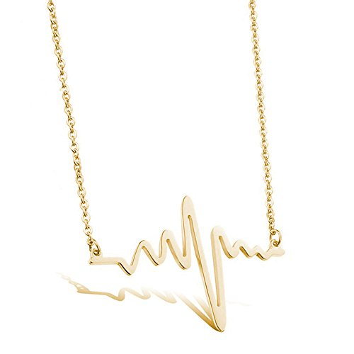 MUZHE Charm Lifeline Heartbeat ECG Pendant Necklace for Women Lady Valentines Gift for Her (Gold)