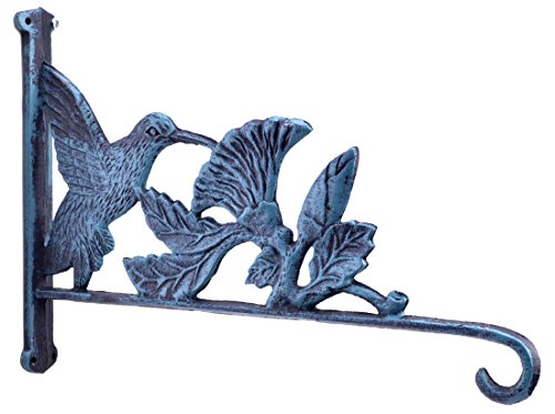 Hummingbird & Flowers Plant Hanger Flower Basket Hook Verdigris Cast Iron 12.5″ Deep For Sale