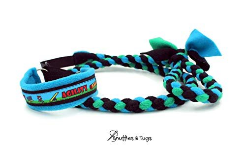 (Agility course turquoise green black fleece braided dog agility martingale slip leash by Snuffles and)