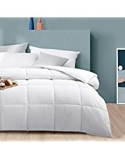 Queen/Full Size All Season Comforter - White Soft Quilted Down Alternative Breathable Duvet Insert with 8 Corner Tabs 3D Filling - Box Stitched(White,88 x 88 Inches)