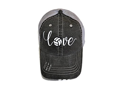 (White/Black Glitter Volleyball Love Distressed Look Grey Trucker Cap Hat Sports)