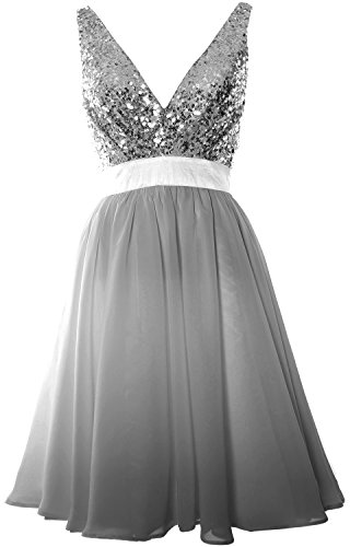 MACloth Women V Neck Sequin Cocktail Dress Vintage Short Formal Prom Party Gown Grau