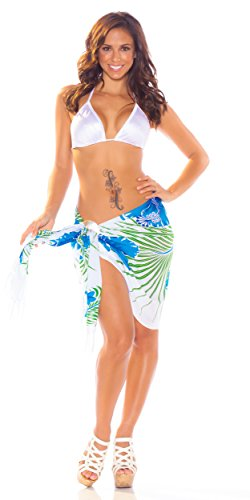 1 World Sarongs Womens Hawaiian Half/Mini Swimsuit Sarong in Blue, Light Blue