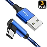 USB C Cable 90 Degree Right Angle (3Pack 10FT) Fast USB Type C Charger Cord for iPad Pro 2018, Samsung S10 S9 Plus S8 Galaxy Note 9, LG V30 G6, Pixel XL(Blue-3P-10FT)