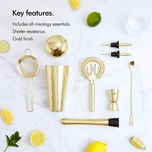 VonShef 9pc Gold Parisian Cocktail Shaker Bartender Set with Gift Box, Recipe Guide, Muddler, Jigger, Cocktail Strainers, Bar Spoon and Bottle Pourers by VonShef (Image #1)