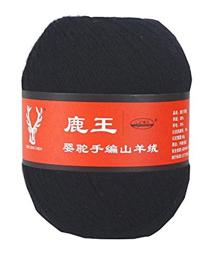 - Baby Hat Scarf Knitting Cashmere Wool Yarn - Balck