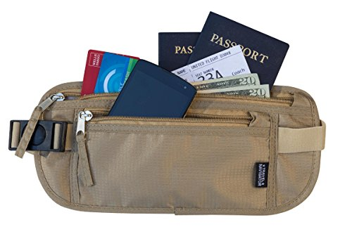 Hidden Money Belt Passport Holder and Travel Wallet with RFID Blocking, Best Undercover Money Belt for Men & Women (Tan) (Belt Wallet For Men compare prices)