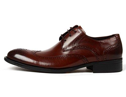 HWF Scarpe Uomo in Pelle Scarpe da uomo in pelle da lavoro formale con punta stile British traspirante (Colore : Nero, dimensioni : EU44/UK8.5) Red-brown