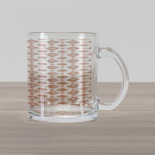 Lunarable Ethnic Glass Mug, Bohemian Rhombuses with Bullseye Pattern Pastel Timeless Arrangement, Printed Clear Glass Coffee Mug Cup for Beverages Water Tea Drinks, Beige Pale Pink Dark Coral