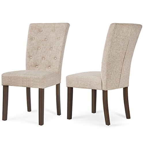 (Merax Beige Dining Chair Leisure Padded Chair with Sturdy Wood Legs,Set of 2)