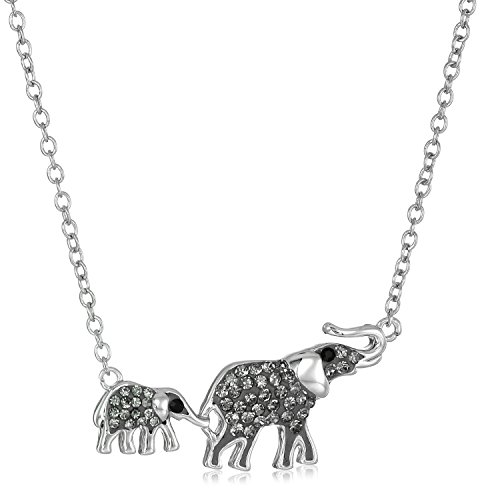 Silver-Plated You & Me Crystal Elephants Pendant Necklace, ()
