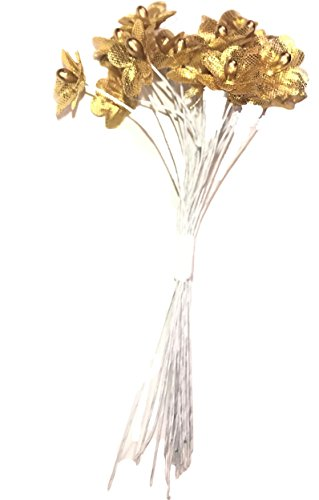 Gold Mini Flower Picks with Bead Center, 24 Ct. Floral Accents, Embellishments, Cards, Bouquets, Corsages Scrapbooks