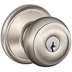 Schlage F51A GEO 619 Georgian Knob Keyed Entry Lock, Satin Nickel