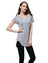 Coreal Ladies Short Sleeve V-Neck Round Hem Cotton Spandex T-shirt