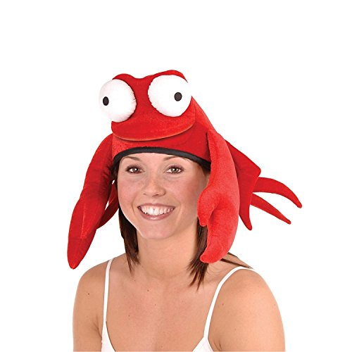 Pack of 6 Flashy Large Claw Red King Crab Soft Plush Party Hat by Party Central