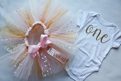 (Pink, Cream, and Glitter Gold Personalized First Birthday Outfit for Baby Girls, Including Confetti Polka Dot Custom Tutu and Script
