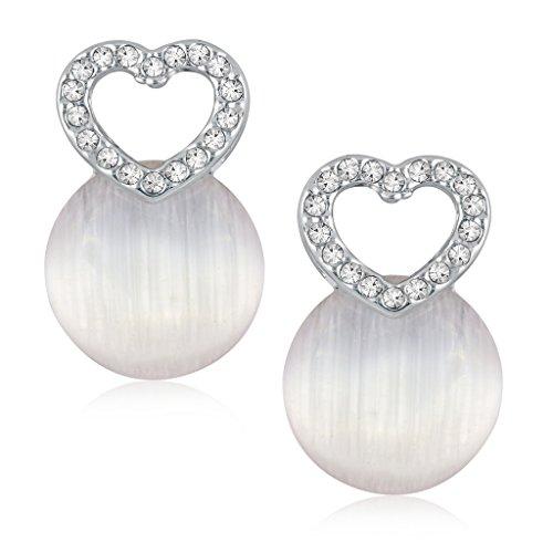 VK Jewels Cubic Zirconia Drop Earrings for Women  Silver   vkerz1566r