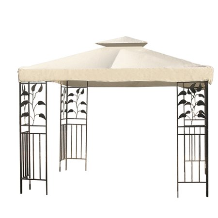 Ivory 12×12′ Square Feet Garden Canopy Gazebo Replacement Top 2 Tier Outdoor Patio UV Block Sun Shade Waterproof Polyester Fabric 145 Sq. In. Tent Heavy Duty, Outdoor Stuffs