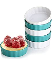 LIFVER Creme Brulee Ramekins,5 Ounces Ceramic Ramekins for Baking,Mini Fluted Quiche Dishes,Souffle Dishes,Pudding Bowls Set of 6,Teal and White