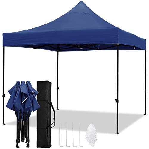TopCamp 10x10ft Pop up Canopy Tent, Shade for Beach Heavy Duty Waterproof Outdoor Commercial Tents Instant Sun Shelter (Navy Blue 10 x 10 EZ)