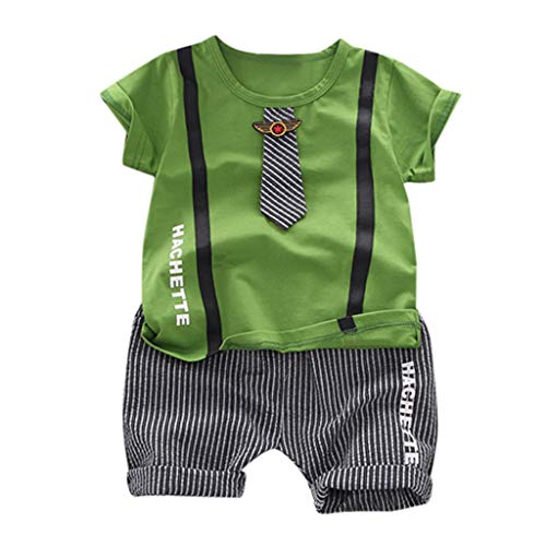 - ❤️ Mealeaf ❤️ Kid Baby Boy Gentleman Tie Letter Top T Shirt + Striped Shorts Outfit Set(Green,80)