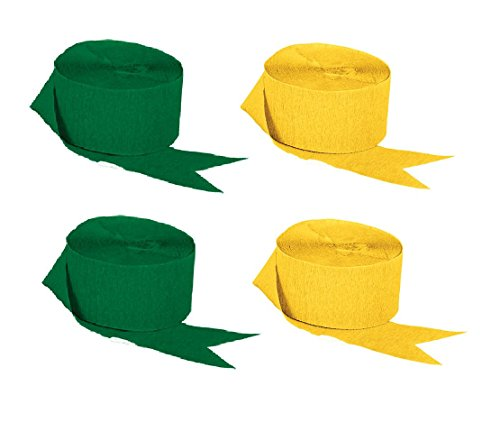 Green and Gold Yellow Crepe Paper Streamers (2 Rolls Each Color) MADE IN USA! ()