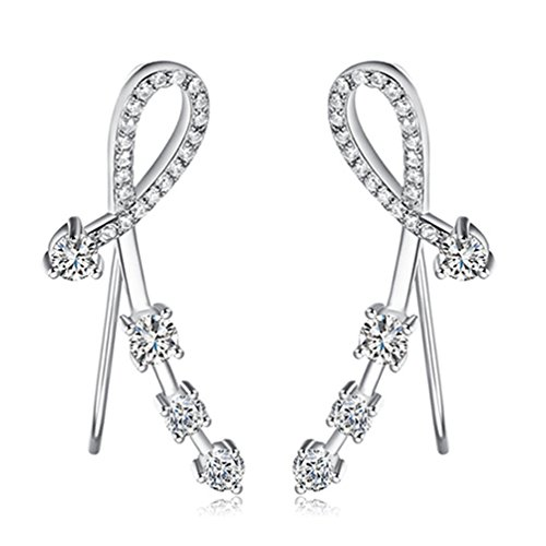 (Constellation Ear Cuff 925 Sterling Silver Star Simulated Diamond Ear Pin Crawler Wrap Earrings Clip On Stud Climber Jackets Cubic Zirconia (Silver))