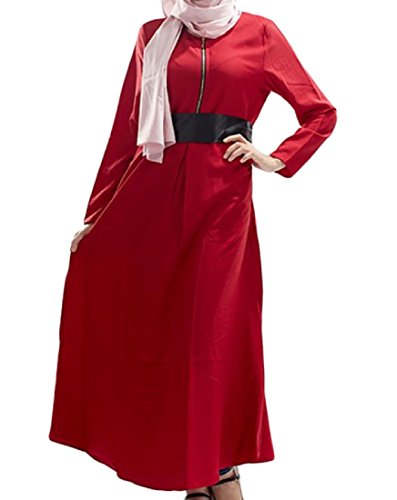 Vino Musulmano Da Solido Arabo Sul Coolred Mezzo Zip Rossa Lungo Veste women Est S Vestito E7qxwPxUY